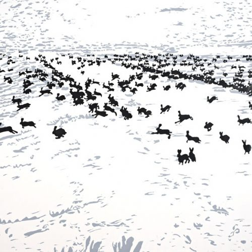 Massaker von Idaho 2005 Linoldruck auf Leinwand 260 x 160 cm