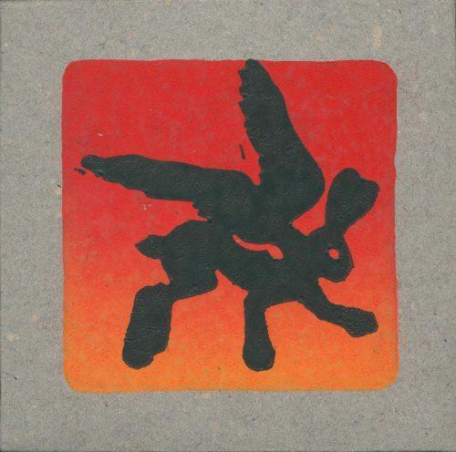 flying hares 2 rot schwarz linolschnitt